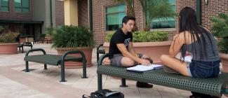 Students studying outside at PHSC Porter Campus